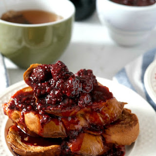 Challah French Toast with Blackberry Compote