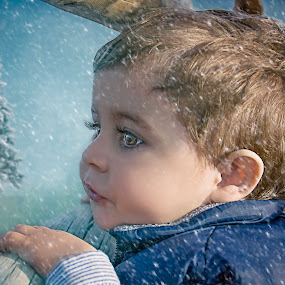 Christmas Expectations by Laura Prieto - Babies & Children Toddlers ( big eyes, season, snow, christmas, holidays, baby, toddler, baby boy, eyes,  )