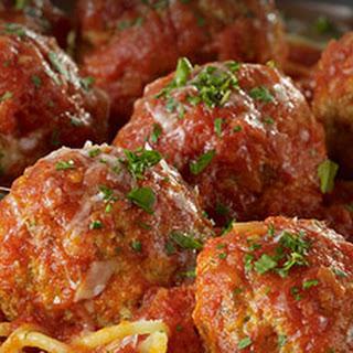 Juicy Italian-Style Meatballs in Marinara Sauce with Bucatini.