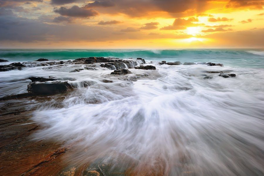 Moving by Korawee Ratchapakdee - Landscapes Waterscapes ( victoria national park, great ocean road, moving, melbourne, sunset, movement, australia, seascape )