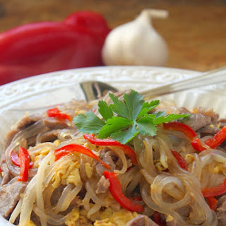 A Thai Glass Noodle Dish with Egg, Beef & Bean Sprouts and a Katie Chin Cookbook Giveaway.