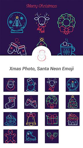 Xmas Photo Santa Neon Emoji