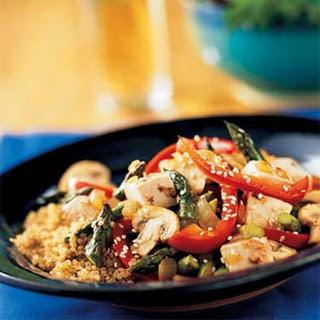 Tofu, Asparagus, and Red Pepper Stir-Fry with Quinoa.
