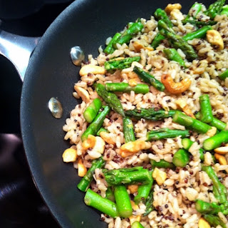 Brown Rice with Cashews, Asparagus and Quinoa