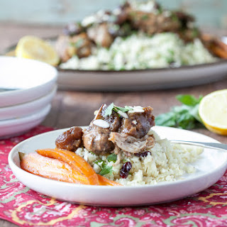 """Slow Cooker Moroccan Chicken with Chopped Almonds, Apricots and Cauliflower """"Couscous""""."""