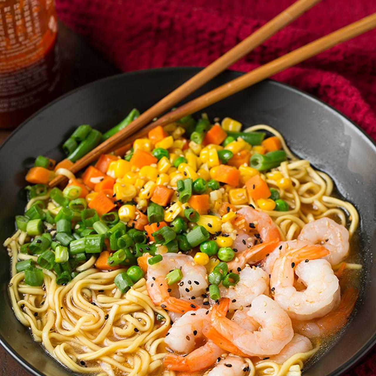 Easy Miso Shrimp and Veggie Ramen