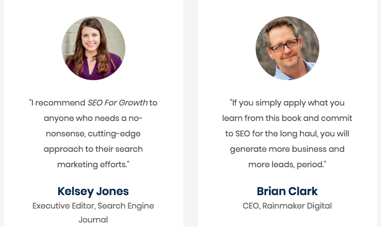 SEO For Growth uses influencer testimonials to provide additional credibility.