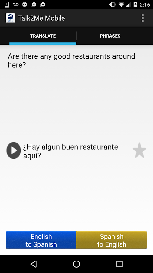 AppTek Talk2Me Mobile Spanish- screenshot