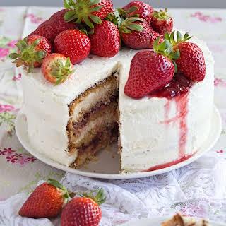 Peanut Butter Strawberry Jam Cake.