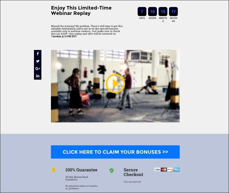 webinar replay page