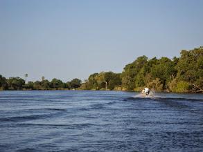 Photo: Heading upstream on Zambezi River