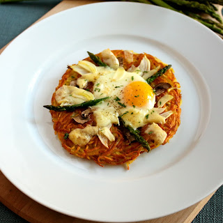 Crispy Potatoes with Egg Asparagus and Cheese Recipe