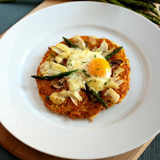 Crispy Potatoes with Egg Asparagus and Cheese.