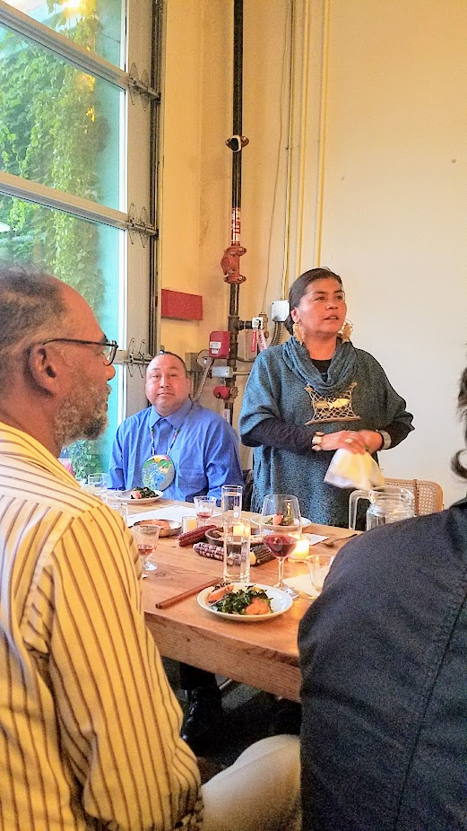 Flavors of Resilience: Indigenous Dinner at Han Oak on October 3, 2017 with Chef Brian Yazzie and Chef M. Karlos Baca, Smoked Spring Salmon Salad with Shaved Squash, Seaweed, Western Hemlock and Maple Vinaigrette and Warm Springs Tribe Salmon King Fisheries traditionally smoked salmon, paired with Navajo tea