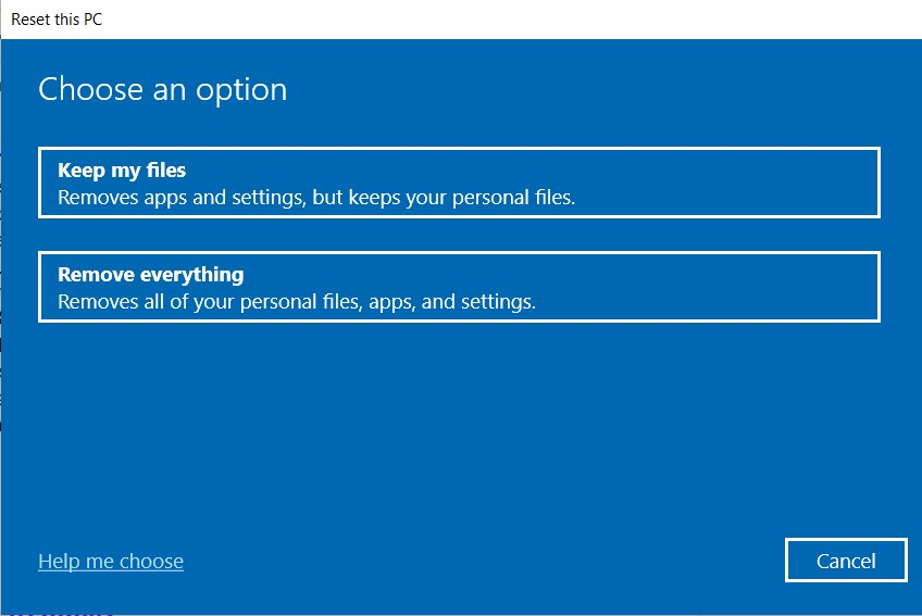 Choose an option for Resetting the PC