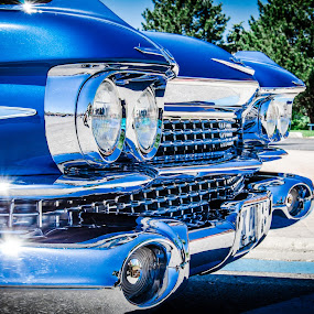 Blue Classic American Car Headlights by Florin Marksteiner - Transportation Automobiles ( car, grill, blue, vintage, american, crome, classic,  )