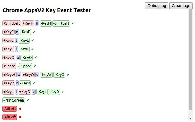 Chrome Key Event Tester