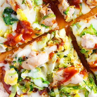 Sriracha BBQ Chicken, Leek, and Brussels Sprouts Pizza