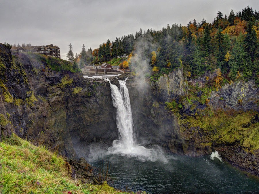 Snoqualmie Falls, WA State by Lydia Bishop - Landscapes Mountains & Hills