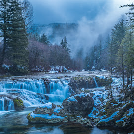 Winter Waterfall by Ivan Johnson - Landscapes Waterscapes (  )