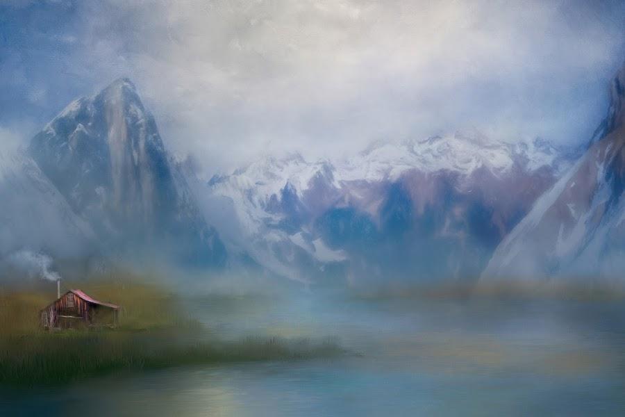Mountain Retreat by Eileen Senter - Digital Art Places ( mountains, barns )
