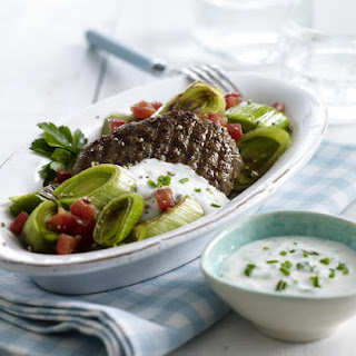Beef Patty with Sautéed Leeks and Herbed Yogurt