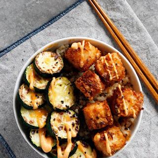Coconut Crusted Tofu with Sweet Chili Sauce.