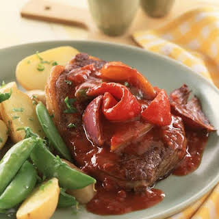 Sirloin Steaks with Paprika and Pepper Sauce.