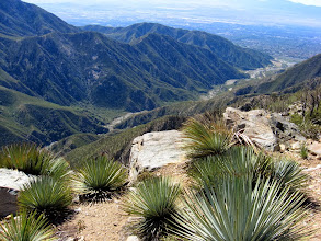Photo: View southeast from Sunset Peak toward San Antonio Canyon. Notice the round survey marker on the rock.