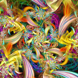 Ribbons and Flowers by Peggi Wolfe - Illustration Abstract & Patterns ( digital, gift, color, wolfepaw, jwildfire, bright, pattern, ribbon, spiral, abstract, décor, flower, print, unique, fractal, illustration, unusual, fun )