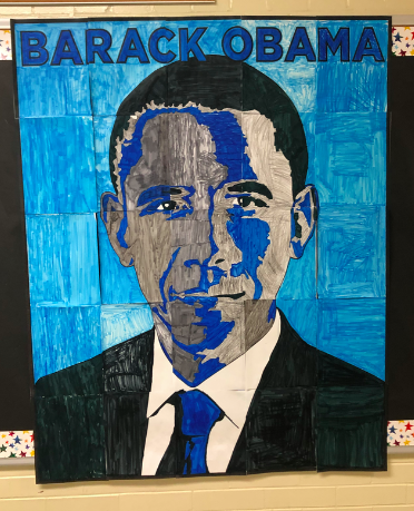students colored a mural of Barack Obama