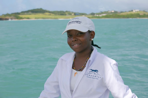 Michelle, one of the deck hands on Shadowfax during a Champagne and Lobster excursion in Grenada.