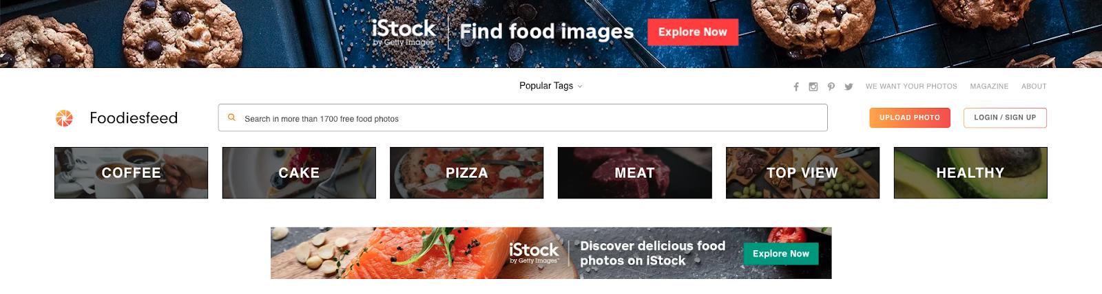 Foodiesfeed homepage screengrab