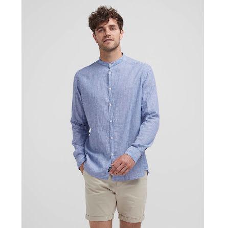 Holebrook Wille collarless shirt navy white