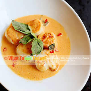 SEARED SCALLOP WITH CREAMY RED CURRY SAUCE / CHOO CHEE CURRY.