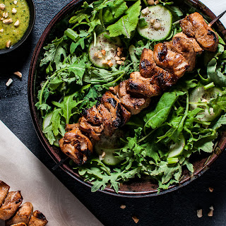 Chicken Kabob Salad with Peanut Lime Dressing