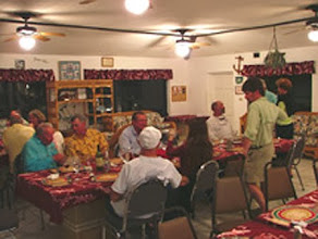 Photo: Dinner!- The MRO group at the Andros Island Bonefish Club