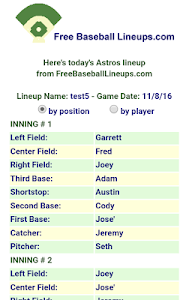 Free Baseball Lineups.com screenshot 5