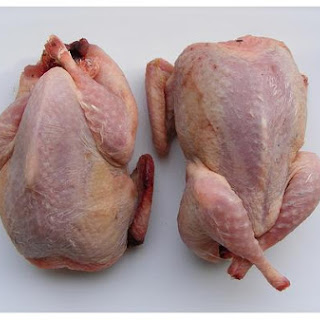 Roast Quail With Bacon Stuffing.
