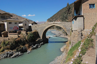 Photo: Eventually we reach the old town of Paucartambo (9500 ft. elevation). The bridge was built in the 1500s.