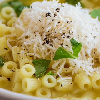 Pasta with Chicken Broth, Butter and Parmesan.