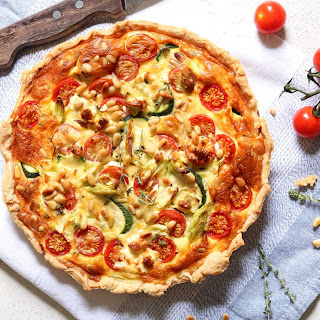 Courgette Quiche with Cherry Tomatoes & Feta.