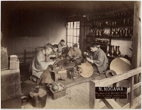 Photo: Period image of the Noburo Nogawa shop. This image was taken from an ebay listing. A different tinted image is at the following link. http://www.oldphotosjapan.com/photos/253/bronze-ware-craftsmen#.VPDCWOGFl50 The site gives an indepth history of the Manufacturer.