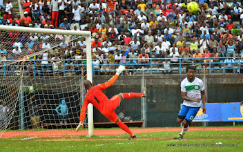 Photo: Swaziland keeper under pressure, moments before penalty conceded [Leone Stars v Swaziland 31 May 2014 (Pic: Darren McKinstry)]