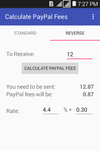 Calculator For PayPal Fees- screenshot