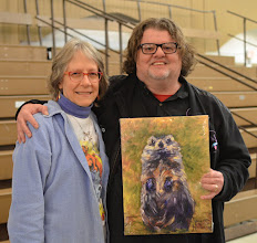 Photo: Joyce Howard gives groundhog painting to Richard Kennison