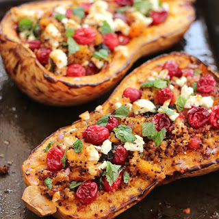 Cranberry, Feta and Quinoa Stuffed Butternut Squash