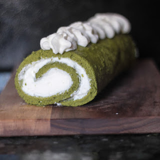 Matcha Swiss Roll with Rosewater Whipped Cream