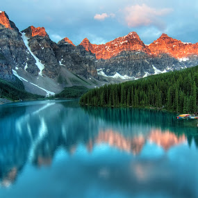 Moraine Lake Sunrise Colorful Landscape by James Wheeler - Landscapes Mountains & Hills ( lake louise, rock, travel, attraction, hiking, alpine, nature, emerald, serenity, deep, pristine, alberta, canada, national, lake, tourism, forest, destination, pure, turquoise, canadian, trees, rockies, aqua, calm, famous, reflection, colorful, rocky, vivid, landscape, banff, moraine lake, moraine, tranquil, mountains, banff national park, clouds, water, peaceful, park, hdr, beautiful, scenic, morning, red, blue, outdoor, summer, summit, scenery, sunrise, peaks )
