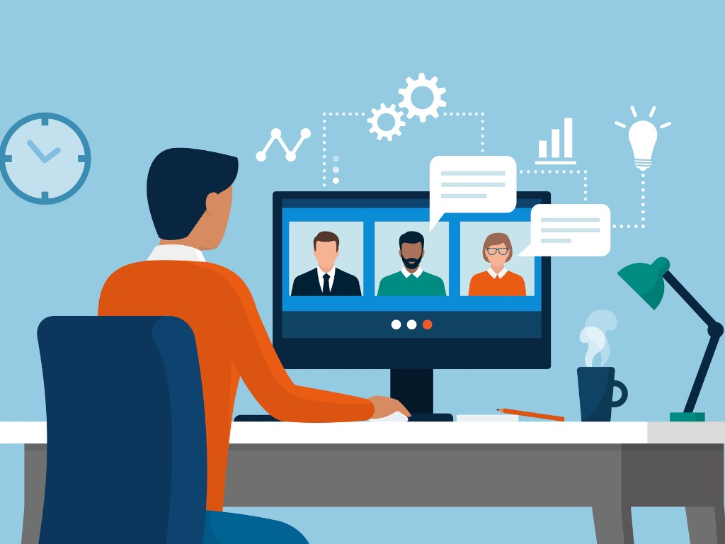 marketing graphic image of online video conference call, with digital graphics icons overlaid on top
